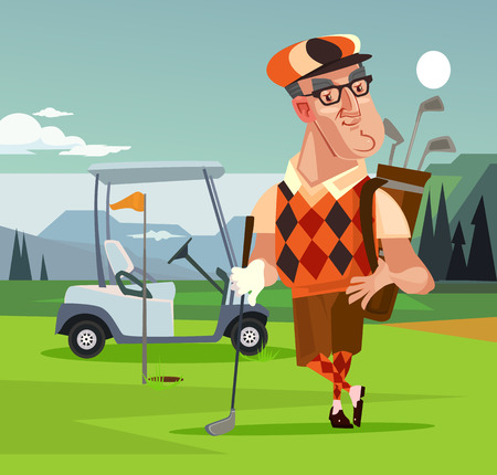 Golf player man character. Vector cartoon illustration Vettoriali
