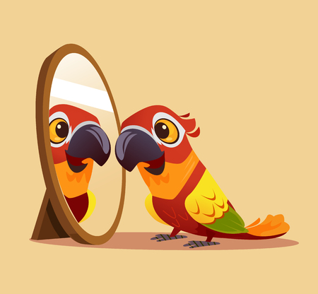 Überraschter neugieriger Papageiencharakter, der einen Spiegel betrachtet. Vektor-Cartoon-Illustration
