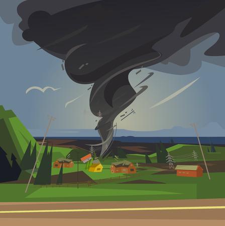 Terrible tornado spun houses. Vector cartoon illustration