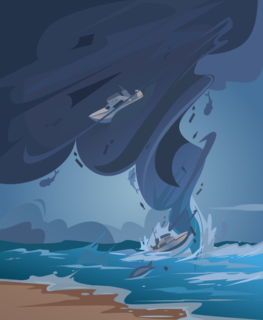 Tsunami and Tornado. Vector cartoon illustration