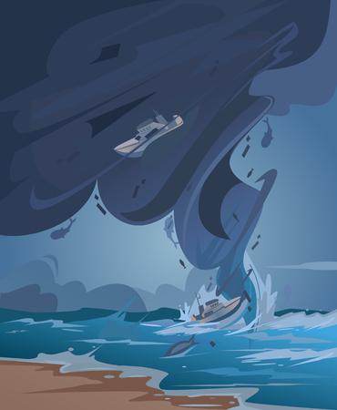 Tsunami and Tornado. Vector cartoon illustration