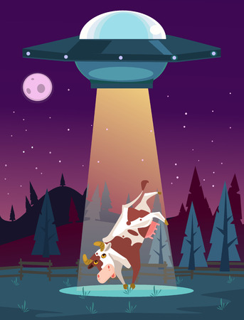 UFO kidnaps cow character. Vector cartoon illustration 版權商用圖片 - 90065607