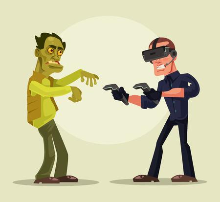 Homem em realidade virtual. Vetorial, caricatura, ilustração Foto de archivo - 90065608