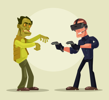 Man in virtual reality. Vector cartoon illustration Illusztráció