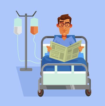 Gelukkige glimlachende patiënt die in bed leggen en illustratie van het kranten de Vector vlakke beeldverhaal lezen