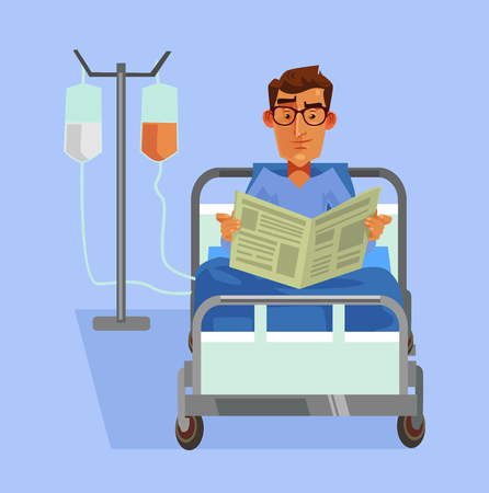 Happy smiling patient laying in bed and reading newspaper Vector flat cartoon illustration