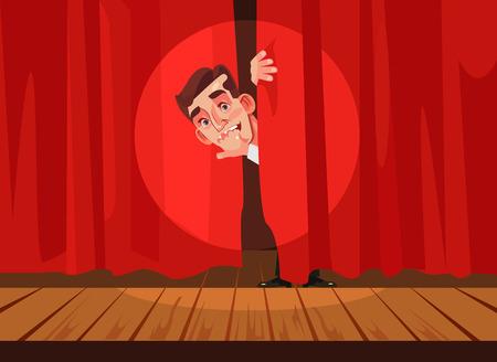 舞台出演を恐れる男、恐怖症コンセプトベクトルフラット漫画イラスト