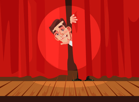 Man afraid of performing on stage, Phobia concept Vector flat cartoon illustration