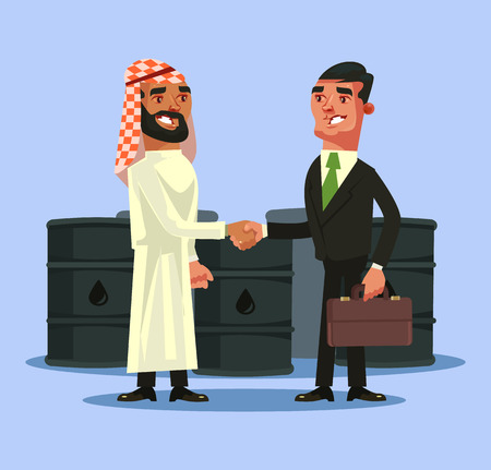Arabian and European businessman deal contract and shaking hands Vector flat cartoon illustration Illustration