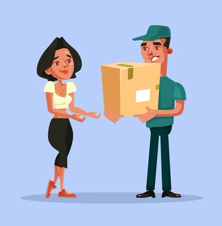 Happy delivery concept Vector flat cartoon illustration