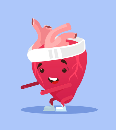 Happy smiling healthy heart character exercising Vector flat cartoon illustration Illusztráció