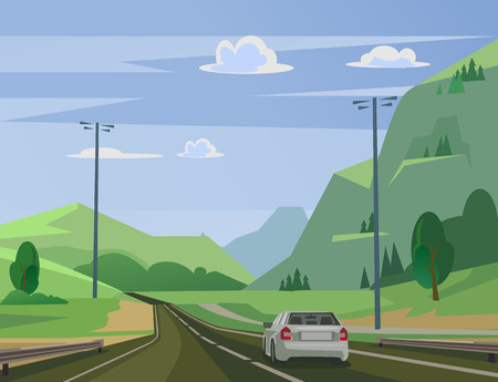 Moving car on road past forest Vector flat illustration