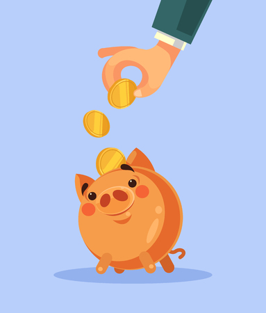 Hand putting gold coin in piggy bank Vector flat cartoon illustration