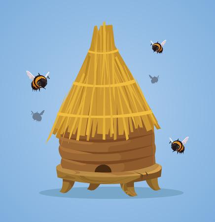 꿀벌 하이브 벡터 플랫 만화 일러스트 레이션