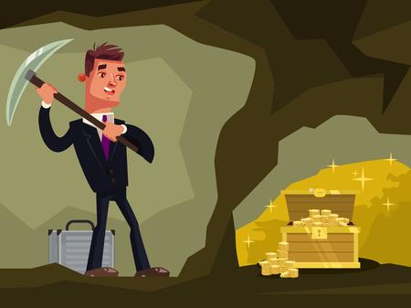 Biznesmen charakter szuka ukrytych skarbów Ilustracja kreskówka płaski wektor