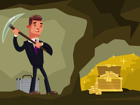 Businessman character looking for hidden treasures Vector flat cartoon illustration