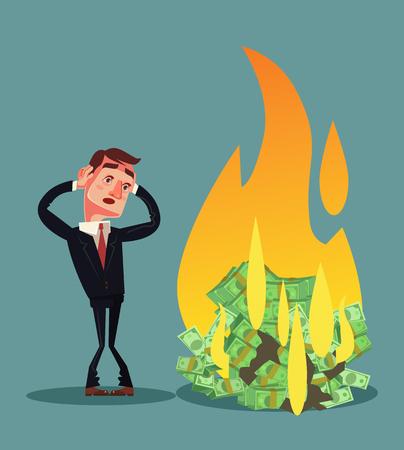 破産したビジネスマンキャラクターコンセプト ベクトルフラット漫画イラスト