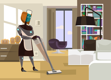 Robot cleaning house Vector flat cartoon illustration