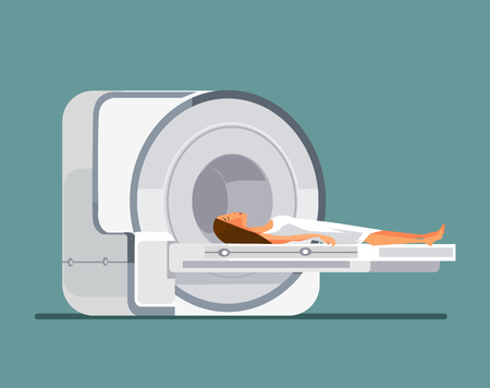 MRI machine with patient Vector flat illustration