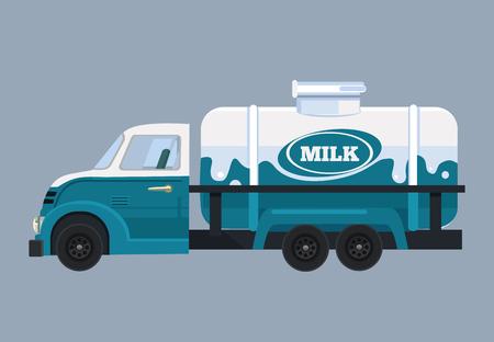Milk truck Vector flat cartoon illustration Ilustração