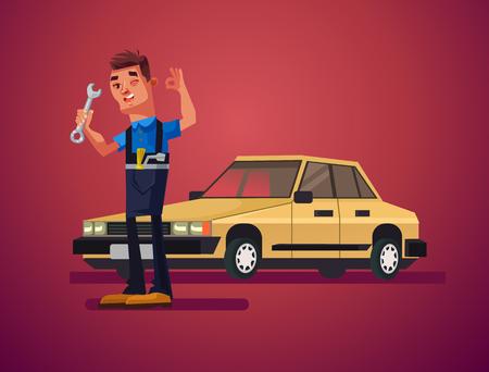 자동차 수리 남자 문자입니다. 벡터 만화 일러스트 레이션 일러스트