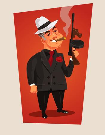 Armed mafia boss character. Vector cartoon illustration Illustration