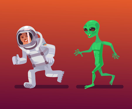 Alien character chasing astronaut. Vector cartoon illustration