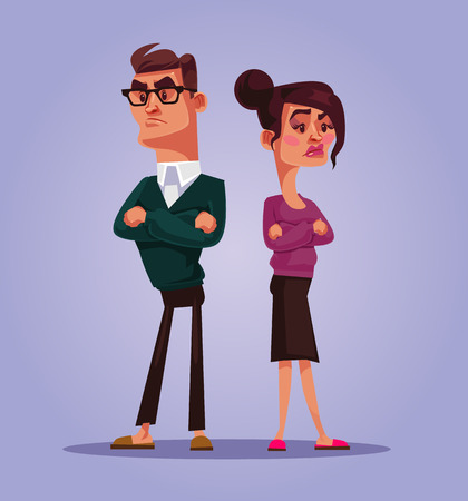 Man and woman quarrel. Vector cartoon illustration Vectores