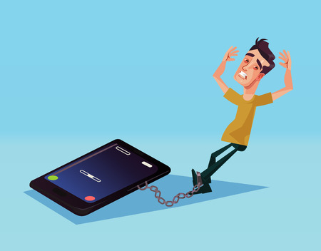 Mobile phone dependence. Vector cartoon illustration