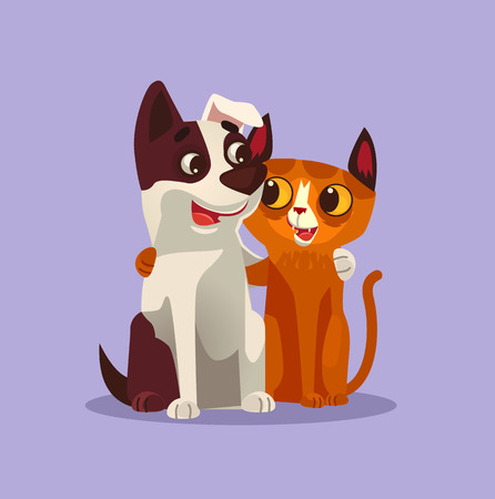 Happy smiling cat and dog characters. Vector cartoon illustration