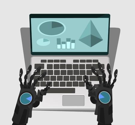 Robot hand work at computer. Vector cartoon illustration Illustration