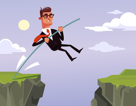 Brave businessman office worker character jumping. Vector cartoon illustration