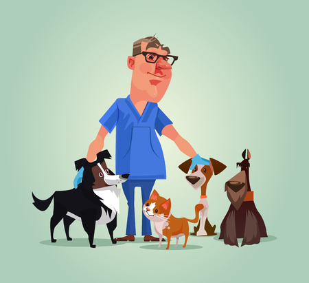 Vet arts karakter met katten en honden. Vector cartoon illustratie