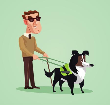 Personagem de homem de pessoa cega e guia de cão. Vetorial, caricatura, ilustração