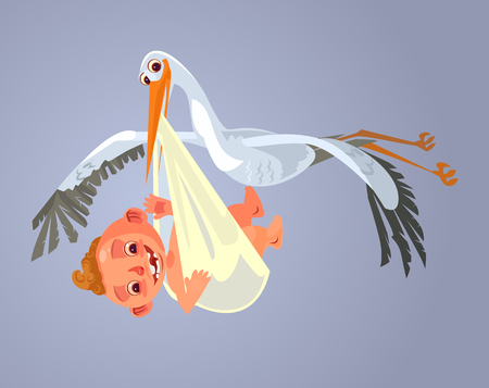 Stork character carry baby. Vector cartoon illustration Vectores