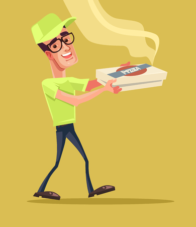 Pizza delivery man character. Vector cartoon illustration