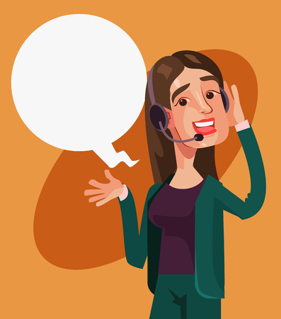 Happy smiling call center woman operator character. Vector cartoon illustration Vettoriali