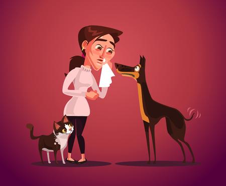 Woman have animal allergy. Vector flat cartoon illustration. Illustration