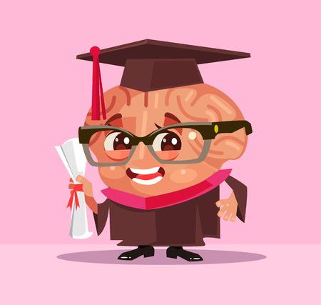 Smart brain graduate student character. Vector flat cartoon illustration. Illustration