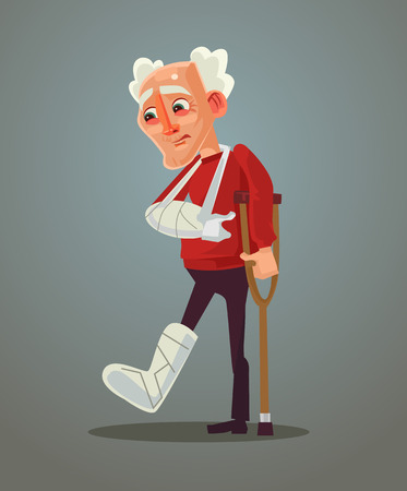 Sad old man broke his leg. Vector flat cartoon illustration.