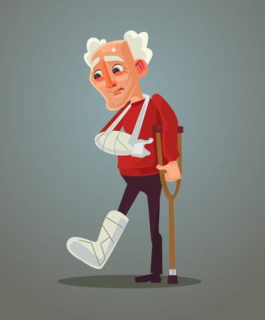 Sad old man broke his leg. Vector flat cartoon illustration.