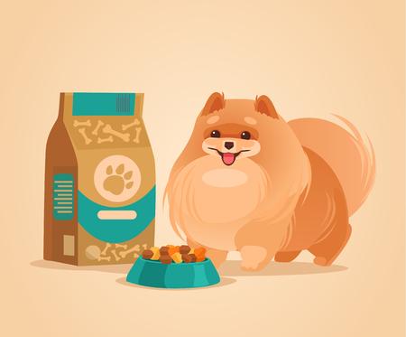 Gelukkig glimlachend Pomeranian-Spitz hondkarakter die op illustratie van het voedsel de vector vlakke beeldverhaal wachten.