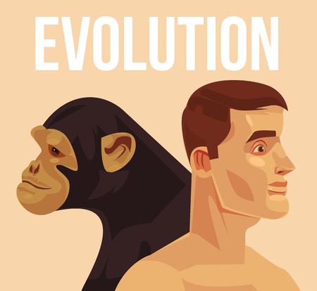 Evolutie van homo sapiens vector platte cartoon illustratie. Vector Illustratie