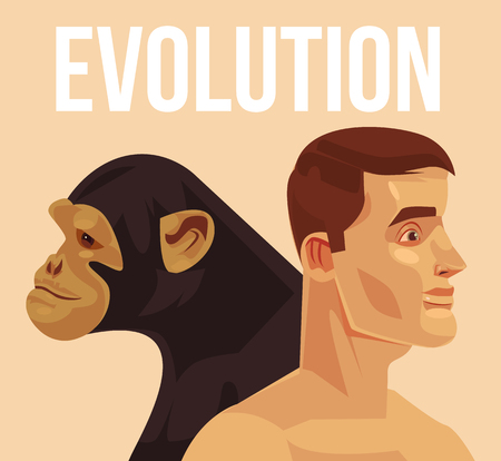 Evolutie van homo sapiens vector platte cartoon illustratie.