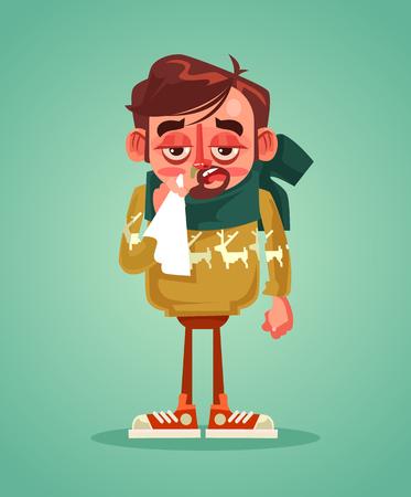 Verdrietig man karakter hebben koude griep vector platte cartoon illustratie. Stock Illustratie