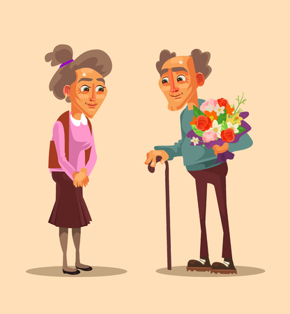 Happy smiling old people date vector flat cartoon illustration.