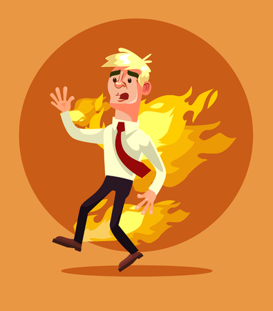 Man burn. Vector flat cartoon illustration