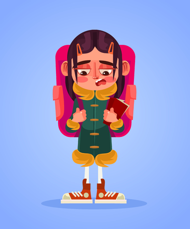 Sad unhappy school girl vector flat cartoon illustration.