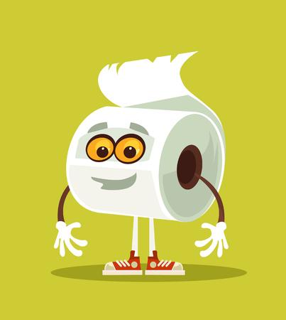 幸せな笑顔のトイレットペーパーキャラクター。ベクトルフラット漫画イラスト