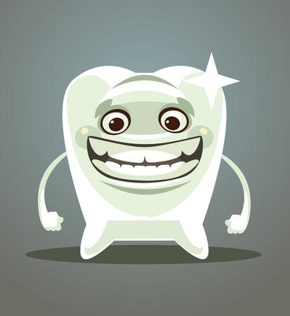 행복 한 미소 하얀 치아입니다. 벡터 평면 만화 일러스트 레이션 일러스트